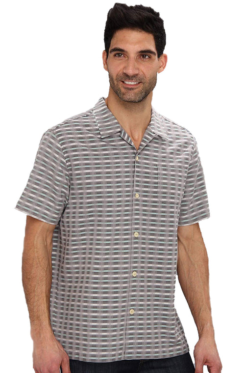 Tommy Bahama Mens Pixel In Paradise Short Sleeve Camp Shirt (Light Grey, Large)