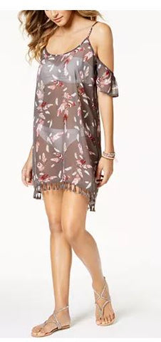 Miken Printed Cold-Shoulder Dress Coverup, Feather Print, Small