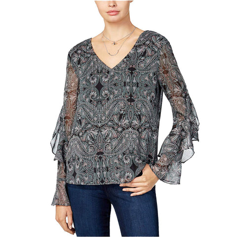 BCX Juniors Sheer Metallic Printed Long Ruffle-Sleeve Blouse