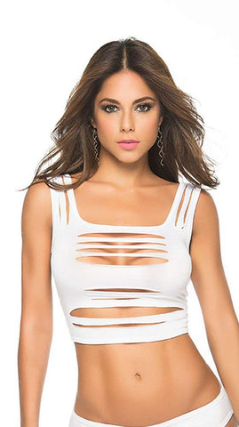 Mapalé by Espiral Womens Skin Baring Slashed Crop Top