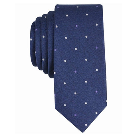 Bar III Mens Latour Dot Skinny Tie (Navy/White, One Size)