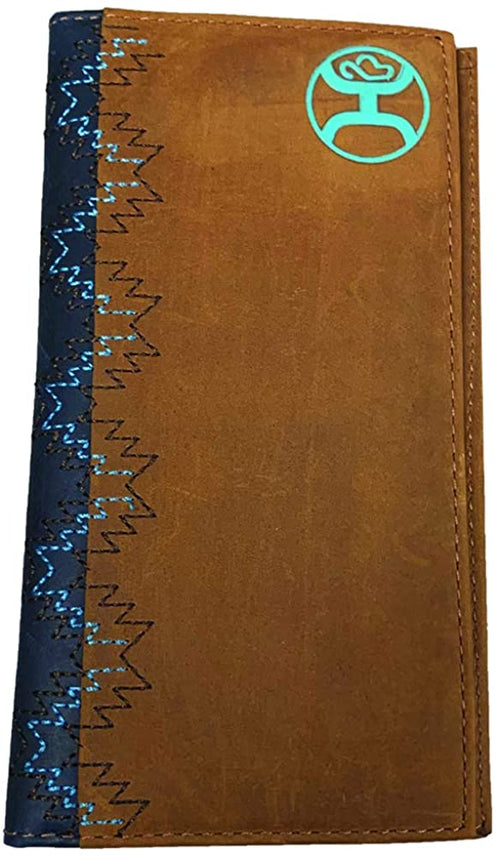 Hooey Mens Leather Signature Logo Rodeo Wallet (Brown/Navy/Turquoise)