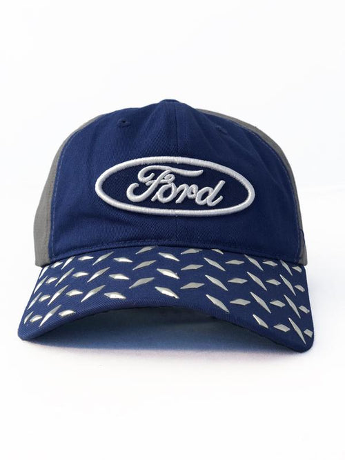Ford Mens Oval Logo Diamond Plate Bill Baseball Cap (Blue/Grey,One Size)
