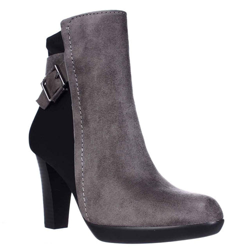 Alfani Womens Velvett Closed Toe Ankle Fashion Boots (Steel/Black, 7.5M)
