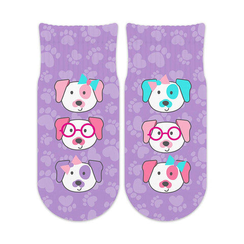 Sublime Designs Kids Fun Printed Ankle Socks-Dogs on Purple