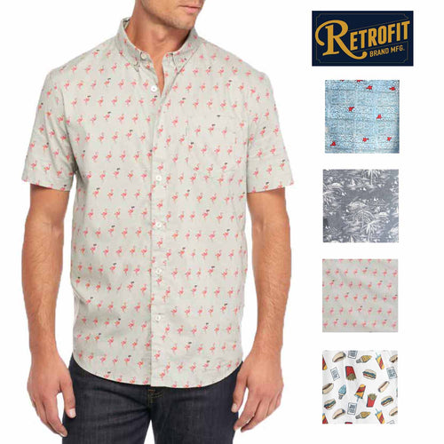 Retrofit Mens Short Sleeve Woven Button Up Shirt