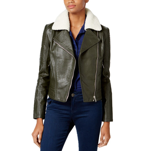 Collection B Women's Mixed-Media Faux-Leather Moto Jacket