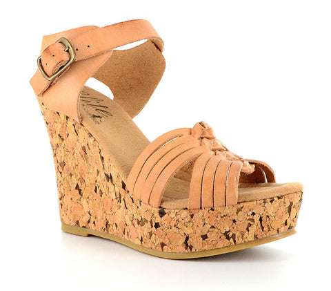 Corkys Womens Elite Castle Leather Cork Wedge Heels