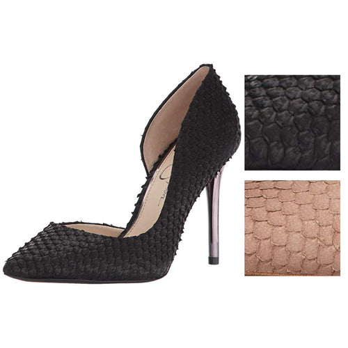 Jessica Simpson Womens Lucina d'Orsay Snakeskin Embossed Pumps