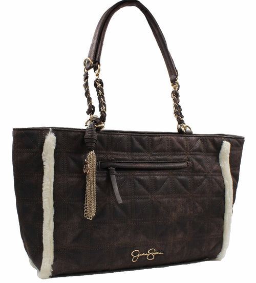 "Jessica Simpson Womens Nordia Tote Bag (Chocolate Suede/Cream Fur, 15"" x 10"" x 4"")"