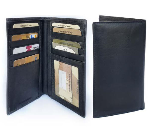 Roma Leathers Genuine Leather RFID Safe Checkbook Style Wallet