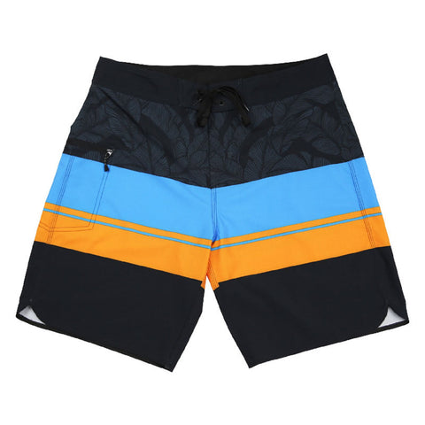 Island Daze Mens Caribe 4 Way Stretch Board Shorts (Black/Blue/Orange,30)