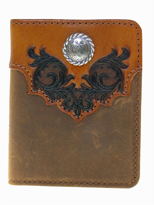 Nocona Mens Bi-fold Flipcase Embossed Leather with Concho Western Wallet (Brown)
