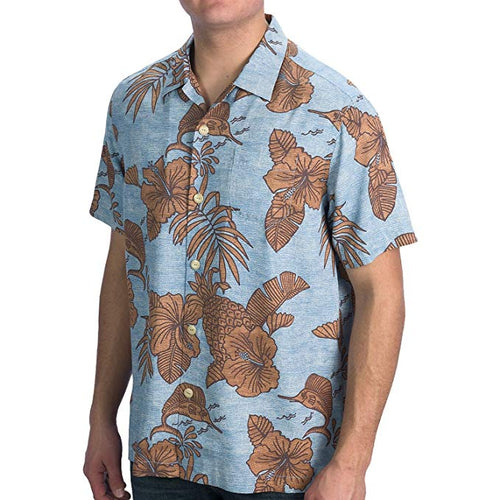 Tommy Bahama Mens Island Modern Fit Bob Marlin Silk Camp Shirt (Blue, Large)