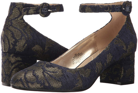 Bandolino Womens Odear Ankle-Strap Block Heel Pumps (Navy/Gold, 5M)