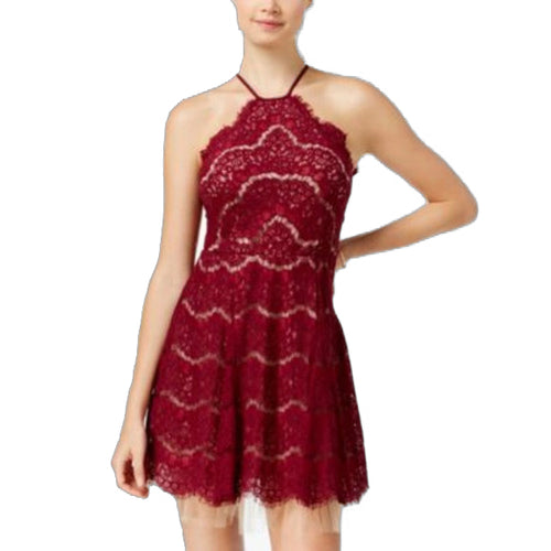 Trixxi Womens Juniors' Lace Tulle Halter Dress (Wine, 5)