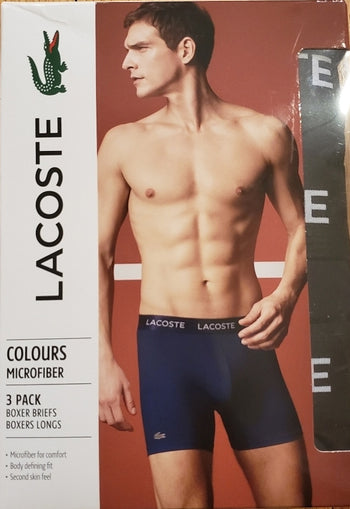 Lacoste Colours Men's Microfiber Boxer Briefs Assorted Colors 3-Pack