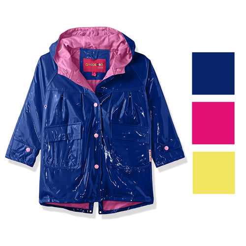 Wippette Little Girls Solid Color Hooded Raincoat Jacket