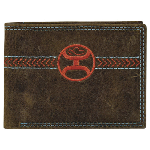 Hooey Mens Weathered Leather Signature Logo Bi-fold Wallet (Brown/Orange/Teal)