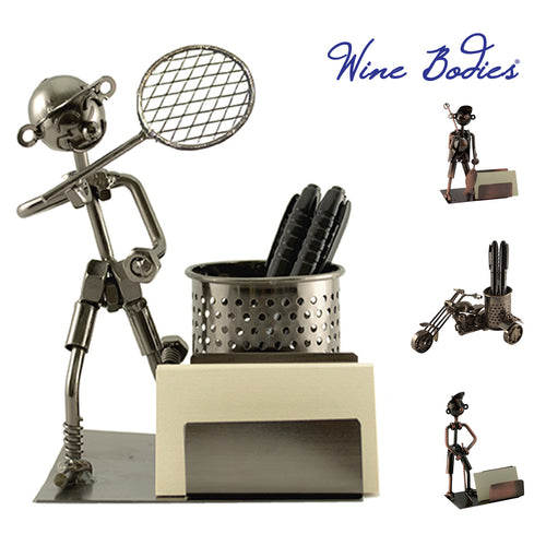 Wine Bodies Recycled Metal Desktop Pen and Business Card Holders