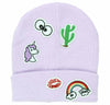 No Boundaries Violet Eyes Cactus Unicorn Lips Rainbow Beanie (One Size)