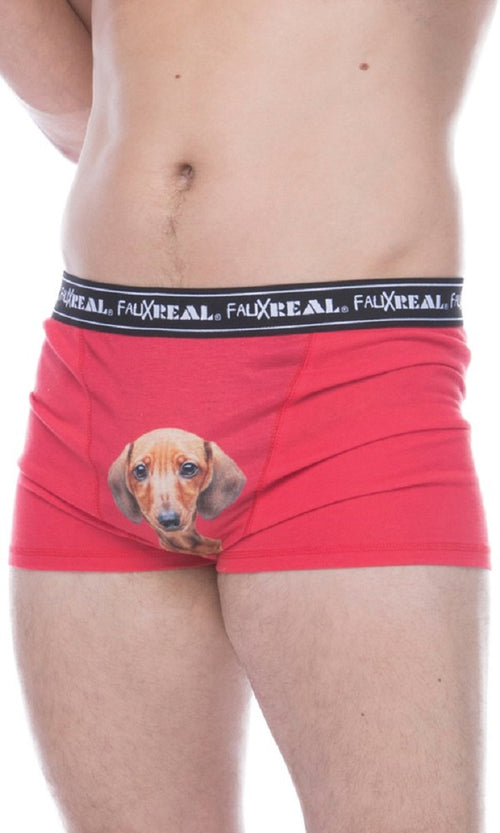 Faux Real Mens Funny Weiner Dog Boxer Briefs