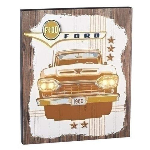 "Roman 18"" LED Ford 1960 F-100 Plaque Decoration"