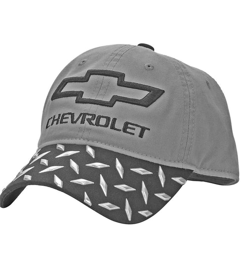 Chevrolet Mens Bowtie Logo Diamond Plate Bill Baseball Cap (Grey/Black,One Size)
