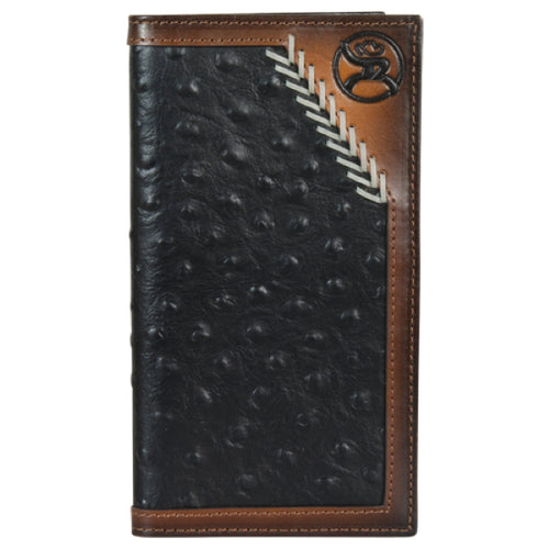 Hooey Mens Roughy Logo Leather Rodeo Checkbook Wallet, Black Ostrich