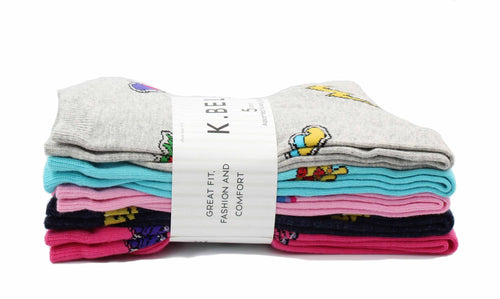 K. Bell Womens Five Pairs Assorted Comfort Fit Novelty Socks (Shoe Size 4-10)