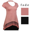 Fade Womens Cut Out Neck Lace Extended Top