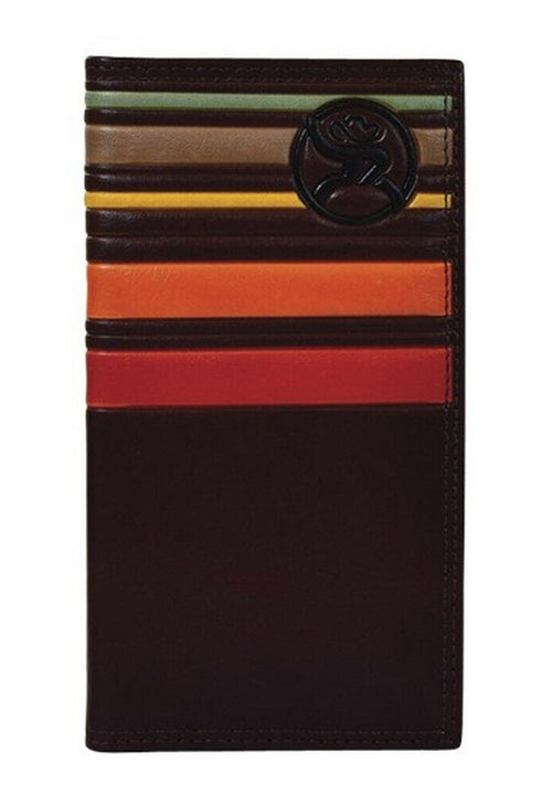 Hooey Mens Leather Rodeo Checkbook Cover Wallet (Brown / Sunset Stripes)