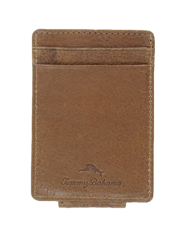 Tommy Bahama Mens Leather Card Case Wallet (Cognac)