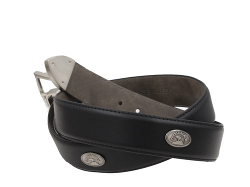 Pebble Beach Mens Leather Concho Silver Buckle Belt, Black
