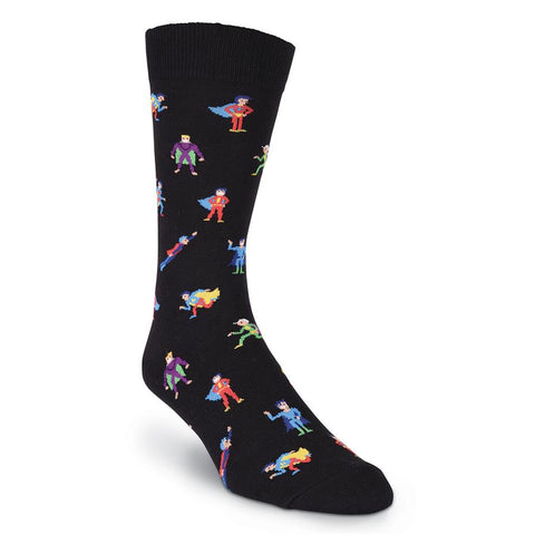 K. Bell Mens Super Heroes Fun Crew Socks
