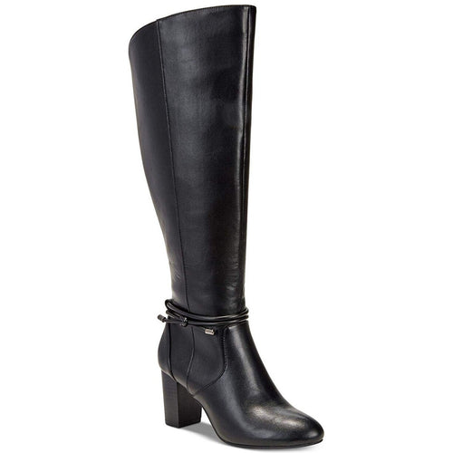 Alfani Womens Giliann Wide Calf Faux Leather Heeled Knee High Boots (Black 6.5M)