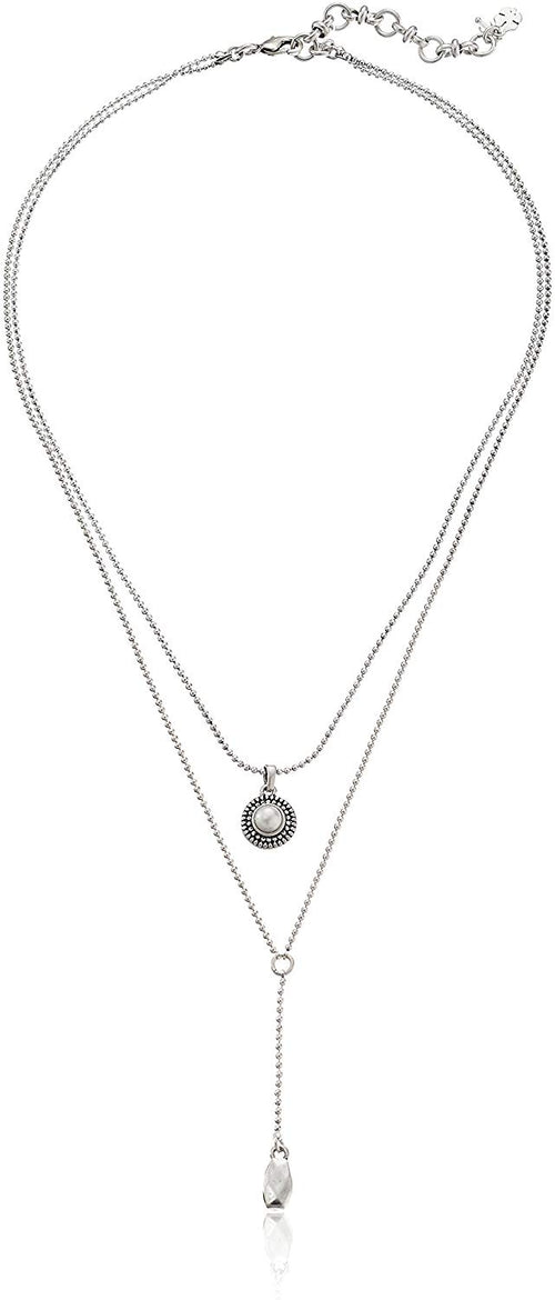 Lucky Brand Womens Pearl Double Layered Delicate Necklace