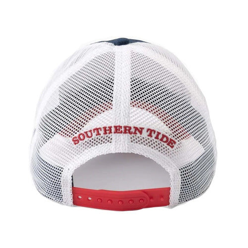 Southern Tide Mens Faded Flag Patch Trucker Hat (Insignia Blue, One Size)