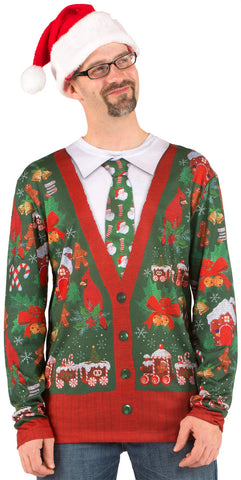 Faux Real Mens Ugly Christmas Cardigan Long Sleeve T-Shirt