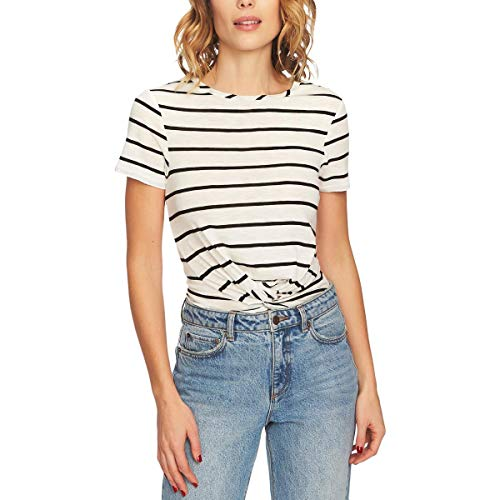1.State Womens Striped Twist-Front T-Shirt Top (Rich Black Stripe, Large)