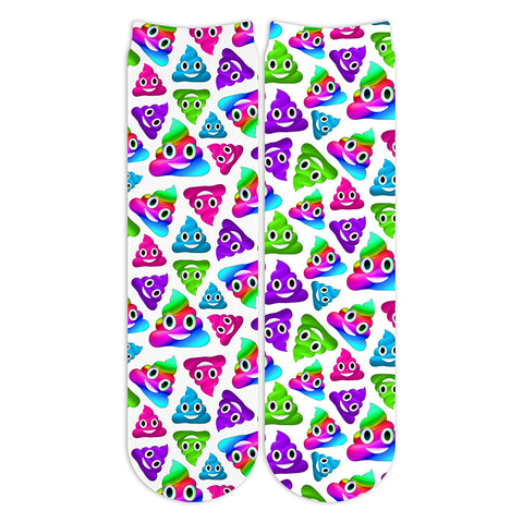 Sublime Designs Youth Crew Fun Printed Socks-White with Rainbow Poo