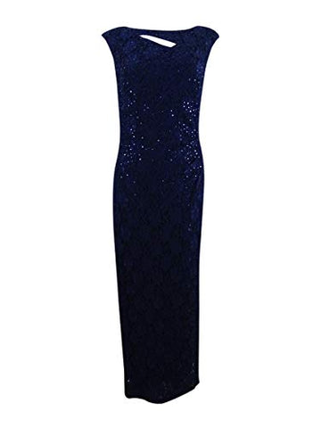 Connected Women's Cutout Sequined Lace Gown (10, Navy)