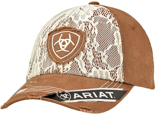 Ariat Womens Brown with Cream Lace Distressed Adjustable Cap Hat