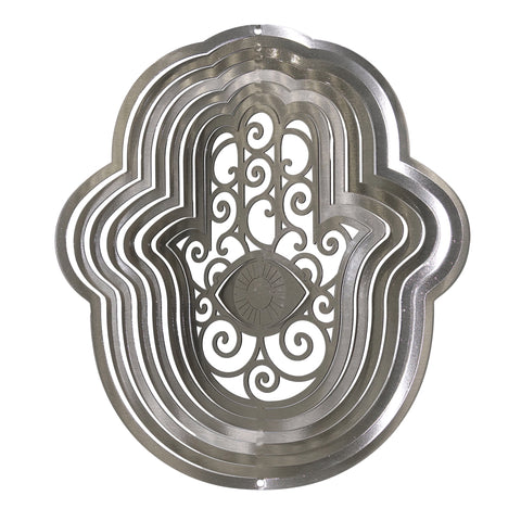 i-Spin Classic Hamsa Wind Spinner (Silver, Large)