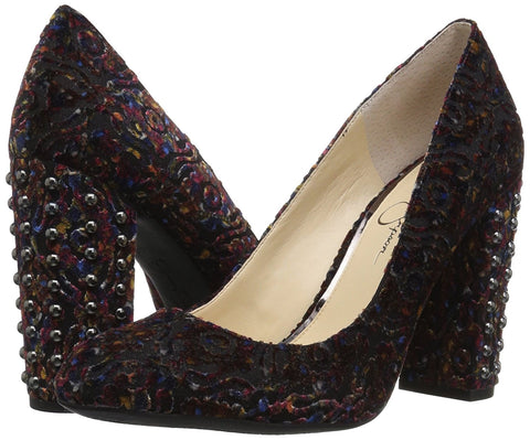 Jessica Simpson Womens Bainer Block-Heel Velvet Pumps