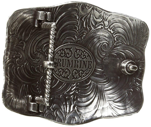 Crumrine Mens Western Bison Scalloped Belt Buckle (Silver)