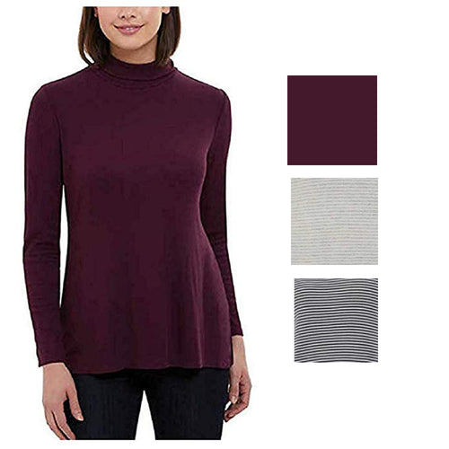 Jones New York Womens Soft Ribbed Knit Long Sleeve Turtleneck