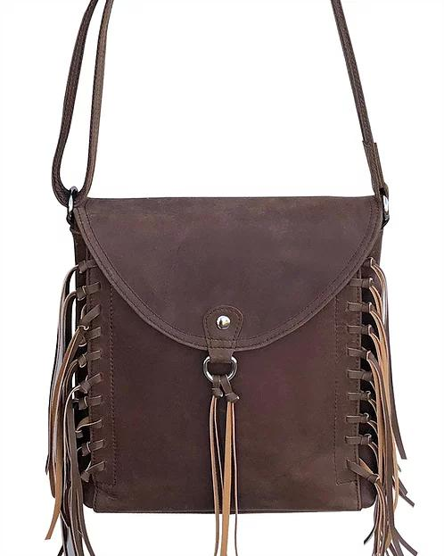 Roma Leathers Womens Western Leather Fringe Concealed Carry Purse (Brown)