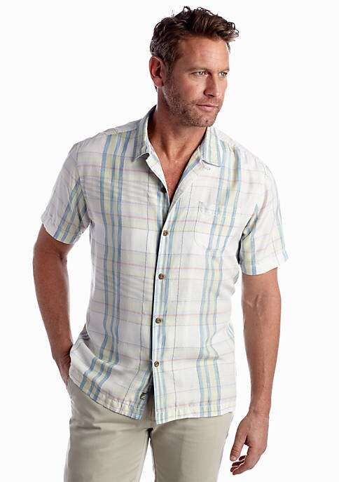Tommy Bahama Mens Short Sleeve Murano Plaid Shirt (Continental, Large)