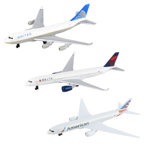 Daron American, United, and Delta Airlines Die-Cast Collectible Planes 3PK